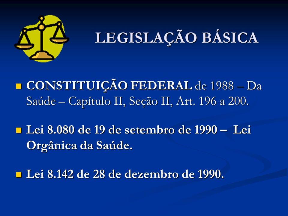 LEGISLAÇÃO BÁSICA CONSTITUIÇÃO FEDERAL de 1988 – Da Saúde – Capítulo II, Seção II, Art. 196 a 200. CONSTITUIÇÃO FEDERAL de 1988 – Da Saúde – Capítulo