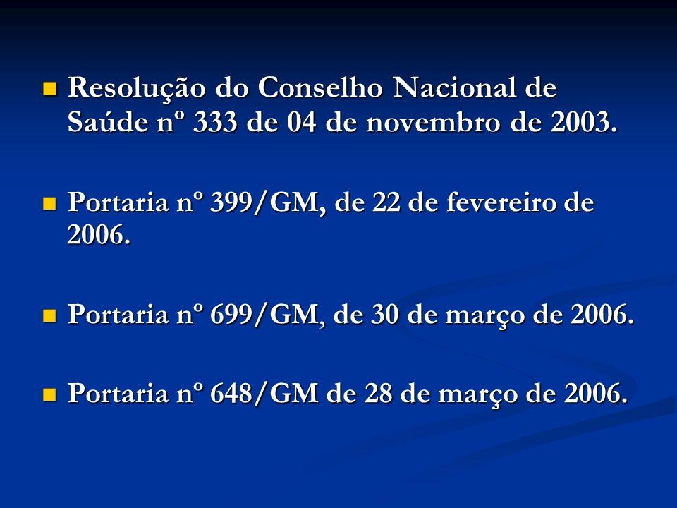Resolução do Conselho Nacional de Saúde nº 333 de 04 de novembro de 2003. Resolução do Conselho Nacional de Saúde nº 333 de 04 de novembro de 2003. Po