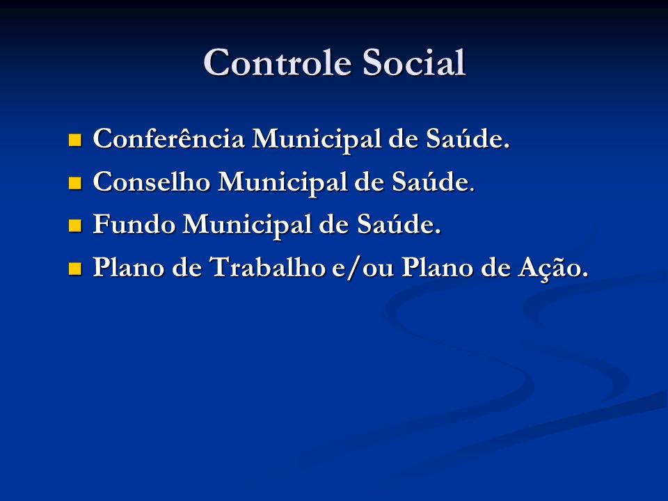 Controle Social Conferência Municipal de Saúde. Conferência Municipal de Saúde. Conselho Municipal de Saúde. Conselho Municipal de Saúde. Fundo Munici