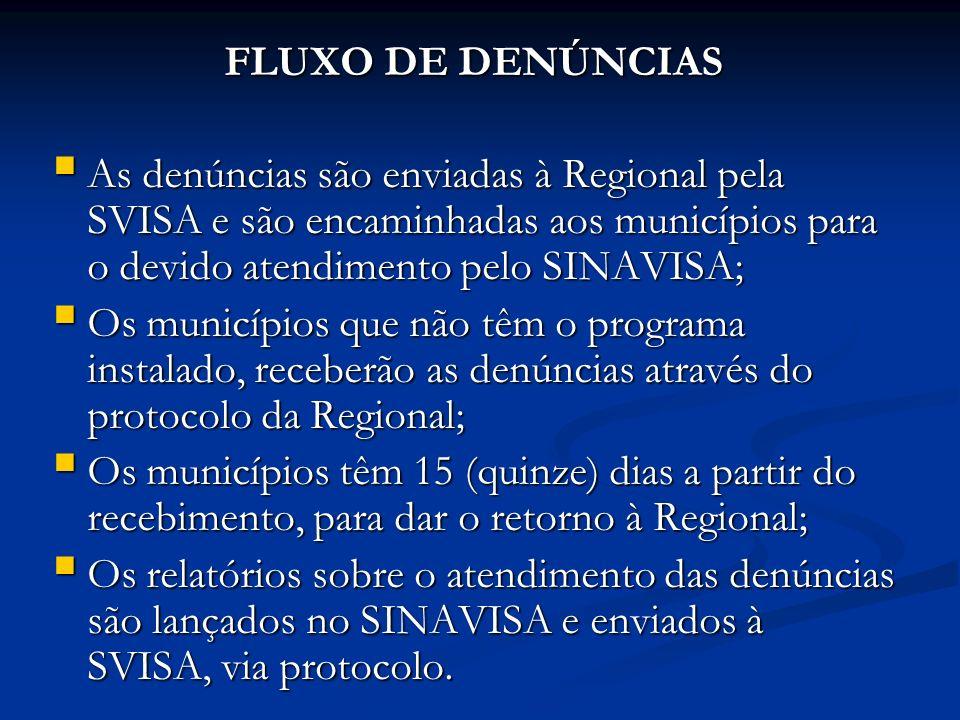 FLUXO DE DENÚNCIAS As denúncias são enviadas à Regional pela SVISA e são encaminhadas aos municípios para o devido atendimento pelo SINAVISA; As denúncias são enviadas à Regional pela SVISA e são encaminhadas aos municípios para o devido atendimento pelo SINAVISA; Os municípios que não têm o programa instalado, receberão as denúncias através do protocolo da Regional; Os municípios que não têm o programa instalado, receberão as denúncias através do protocolo da Regional; Os municípios têm 15 (quinze) dias a partir do recebimento, para dar o retorno à Regional; Os municípios têm 15 (quinze) dias a partir do recebimento, para dar o retorno à Regional; Os relatórios sobre o atendimento das denúncias são lançados no SINAVISA e enviados à SVISA, via protocolo.