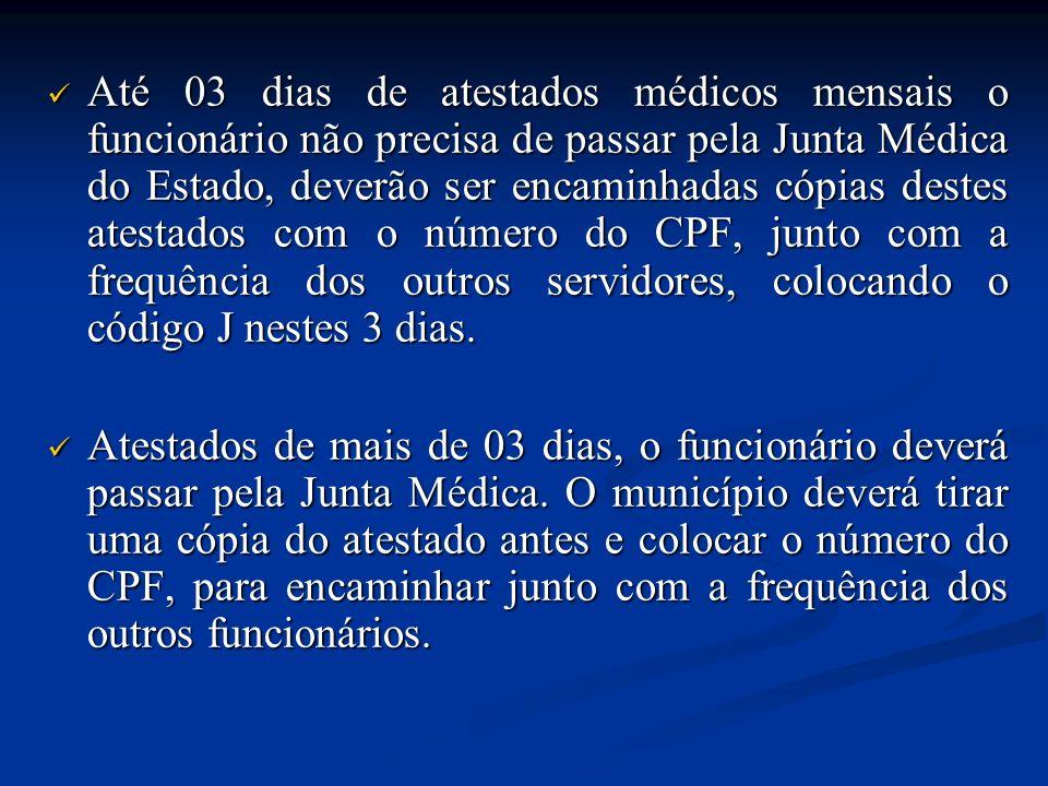 Até 03 dias de atestados médicos mensais o funcionário não precisa de passar pela Junta Médica do Estado, deverão ser encaminhadas cópias destes atest