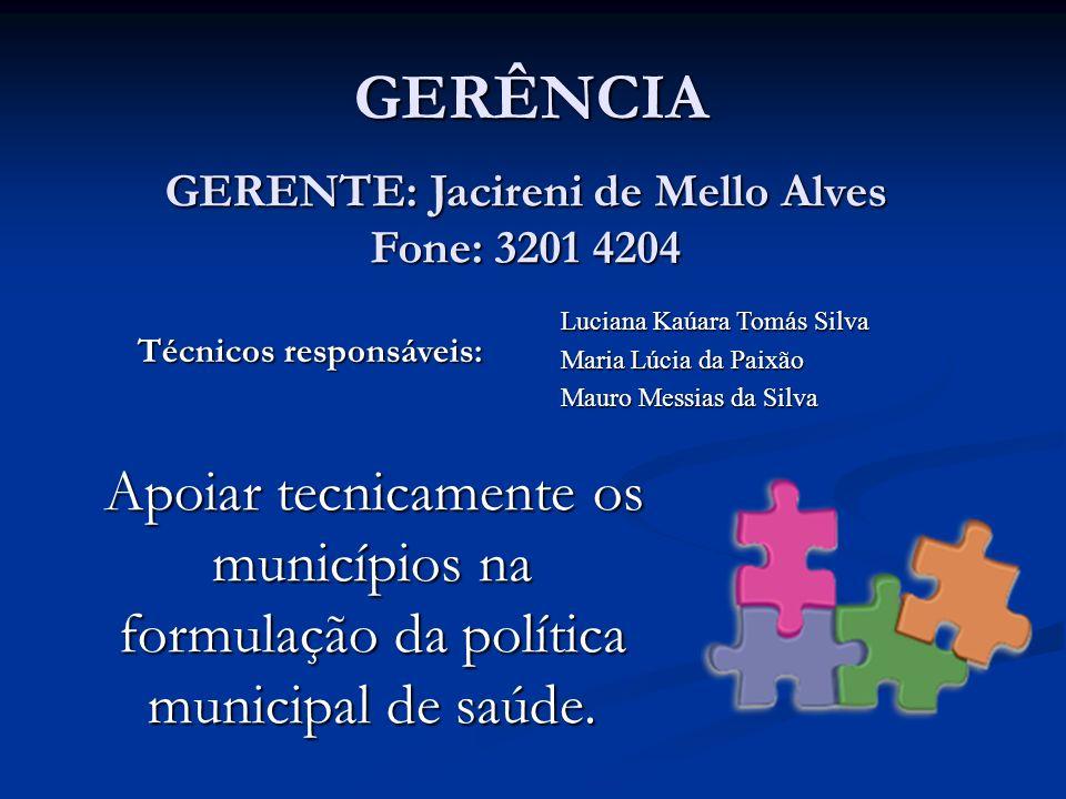 GERÊNCIA Apoiar tecnicamente os municípios na formulação da política municipal de saúde. Luciana Kaúara Tomás Silva Maria Lúcia da Paixão Mauro Messia