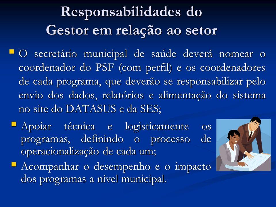 Responsabilidades do Gestor em relação ao setor O secretário municipal de saúde deverá nomear o coordenador do PSF (com perfil) e os coordenadores de