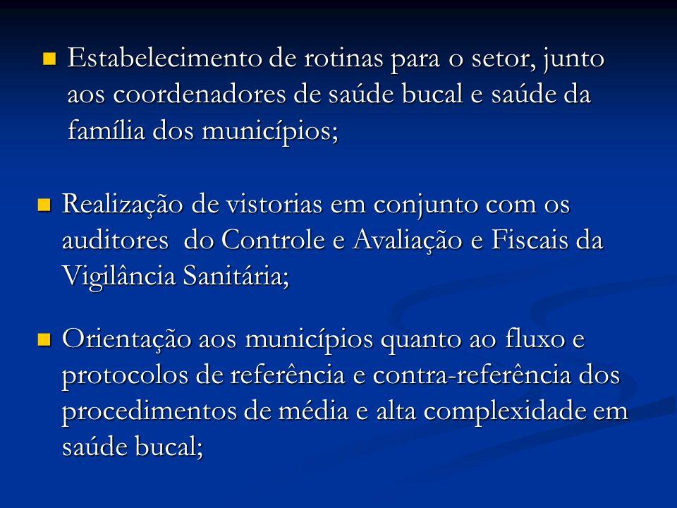 Estabelecimento de rotinas para o setor, junto aos coordenadores de saúde bucal e saúde da família dos municípios; Estabelecimento de rotinas para o s