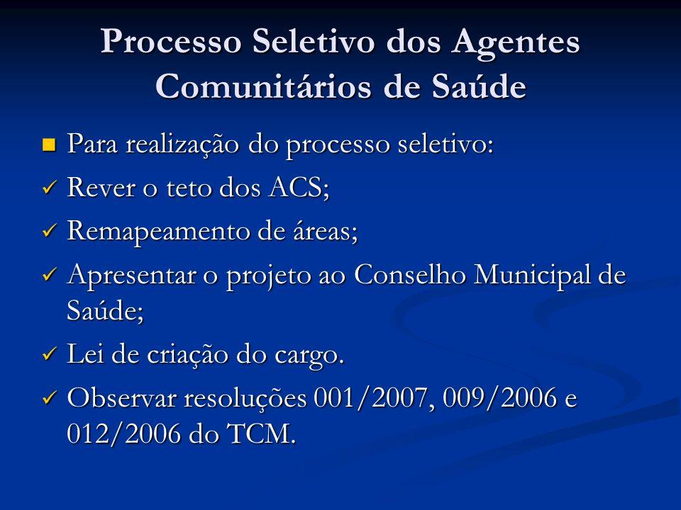 Processo Seletivo dos Agentes Comunitários de Saúde Para realização do processo seletivo: Para realização do processo seletivo: Rever o teto dos ACS;
