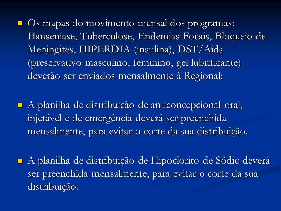 Os mapas do movimento mensal dos programas: Hanseníase, Tuberculose, Endemias Focais, Bloqueio de Meningites, HIPERDIA (insulina), DST/Aids (preservativo masculino, feminino, gel lubrificante) deverão ser enviados mensalmente à Regional; Os mapas do movimento mensal dos programas: Hanseníase, Tuberculose, Endemias Focais, Bloqueio de Meningites, HIPERDIA (insulina), DST/Aids (preservativo masculino, feminino, gel lubrificante) deverão ser enviados mensalmente à Regional; A planilha de distribuição de anticoncepcional oral, injetável e de emergência deverá ser preenchida mensalmente, para evitar o corte da sua distribuição.