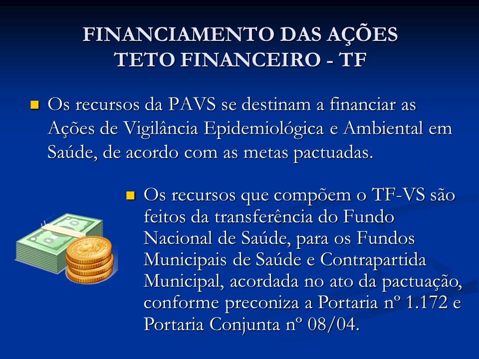 FINANCIAMENTO DAS AÇÕES TETO FINANCEIRO - TF Os recursos da PAVS se destinam a financiar as Ações de Vigilância Epidemiológica e Ambiental em Saúde, de acordo com as metas pactuadas.