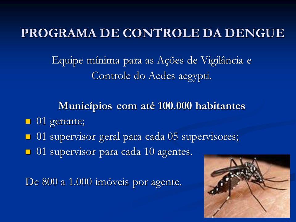 PROGRAMA DE CONTROLE DA DENGUE Equipe mínima para as Ações de Vigilância e Controle do Aedes aegypti. Municípios com até 100.000 habitantes 01 gerente