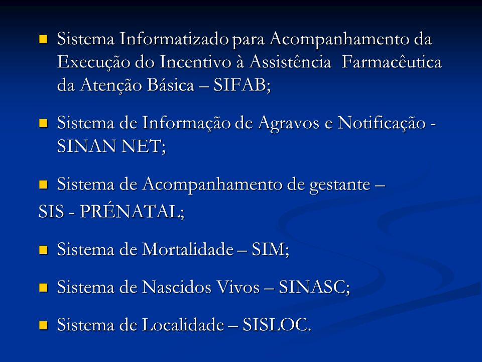 Sistema Informatizado para Acompanhamento da Execução do Incentivo à Assistência Farmacêutica da Atenção Básica – SIFAB; Sistema Informatizado para Acompanhamento da Execução do Incentivo à Assistência Farmacêutica da Atenção Básica – SIFAB; Sistema de Informação de Agravos e Notificação - SINAN NET; Sistema de Informação de Agravos e Notificação - SINAN NET; Sistema de Acompanhamento de gestante – Sistema de Acompanhamento de gestante – SIS - PRÉNATAL; Sistema de Mortalidade – SIM; Sistema de Mortalidade – SIM; Sistema de Nascidos Vivos – SINASC; Sistema de Nascidos Vivos – SINASC; Sistema de Localidade – SISLOC.