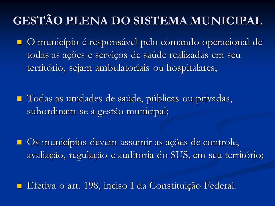 GESTÃO PLENA DO SISTEMA MUNICIPAL O município é responsável pelo comando operacional de todas as ações e serviços de saúde realizadas em seu territóri