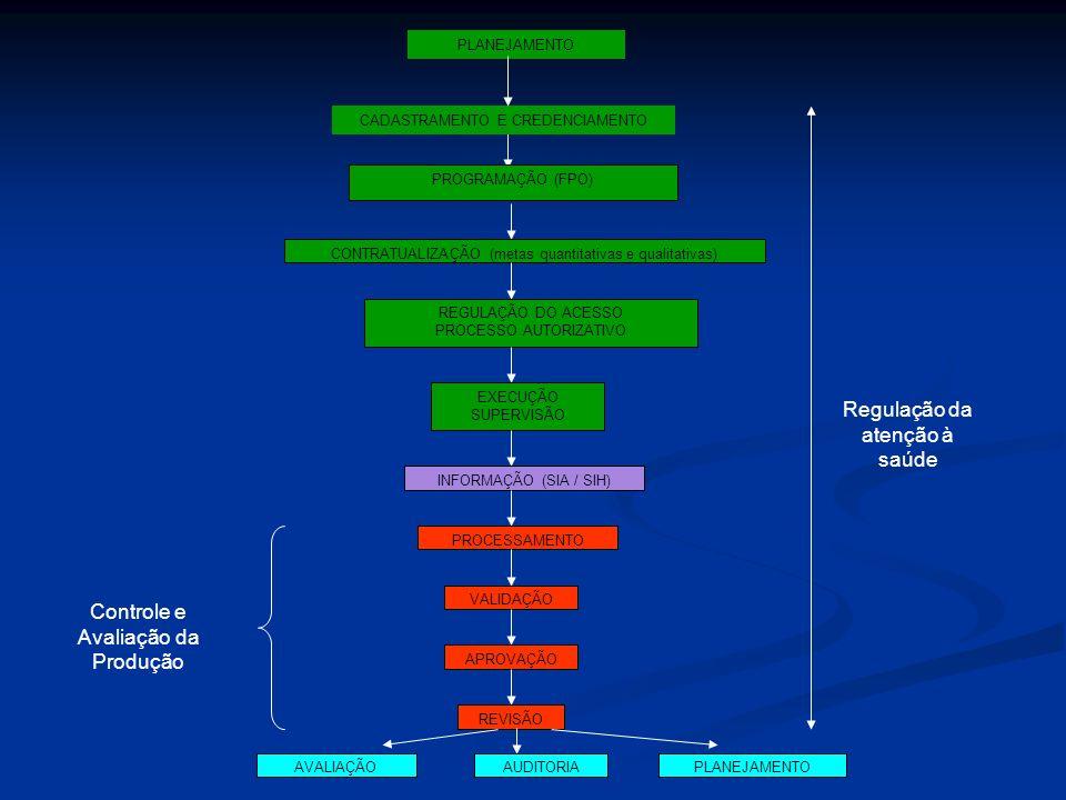 PROGRAMAÇÃO (FPO) CONTRATUALIZAÇÃO (metas quantitativas e qualitativas) REGULAÇÃO DO ACESSO PROCESSO AUTORIZATIVO EXECUÇÃO SUPERVISÃO INFORMAÇÃO (SIA