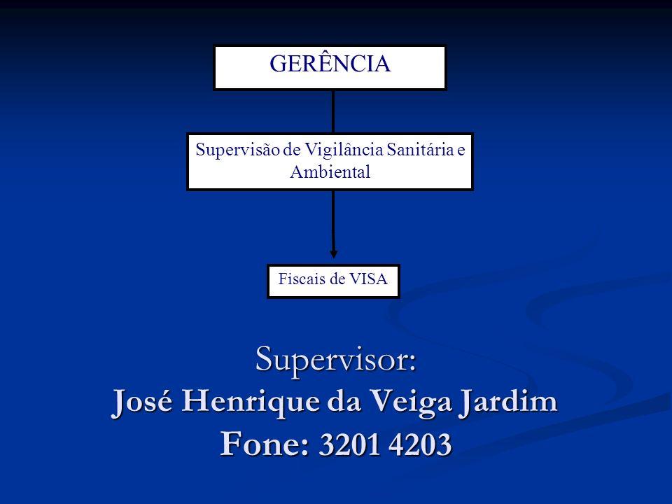 Supervisor: José Henrique da Veiga Jardim Fone: 3201 4203 GERÊNCIA Supervisão de Vigilância Sanitária e Ambiental Fiscais de VISA