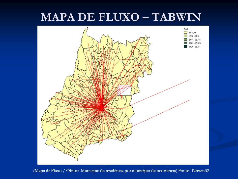 MAPA DE FLUXO – TABWIN (Mapa de Fluxo / Óbitos: Município de residência por município de ocorrência) Fonte: Tabwin32
