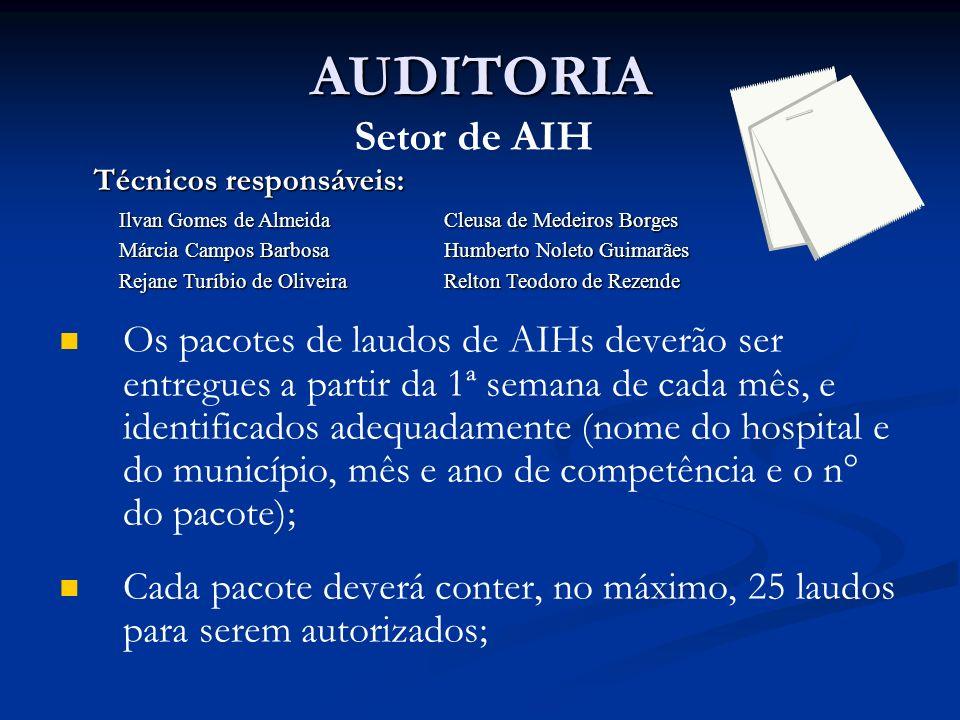 Setor de AIH Os pacotes de laudos de AIHs deverão ser entregues a partir da 1ª semana de cada mês, e identificados adequadamente (nome do hospital e d