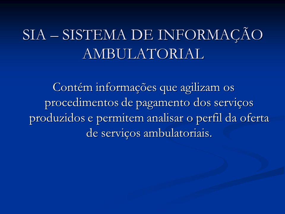 Contém informações que agilizam os procedimentos de pagamento dos serviços produzidos e permitem analisar o perfil da oferta de serviços ambulatoriais.