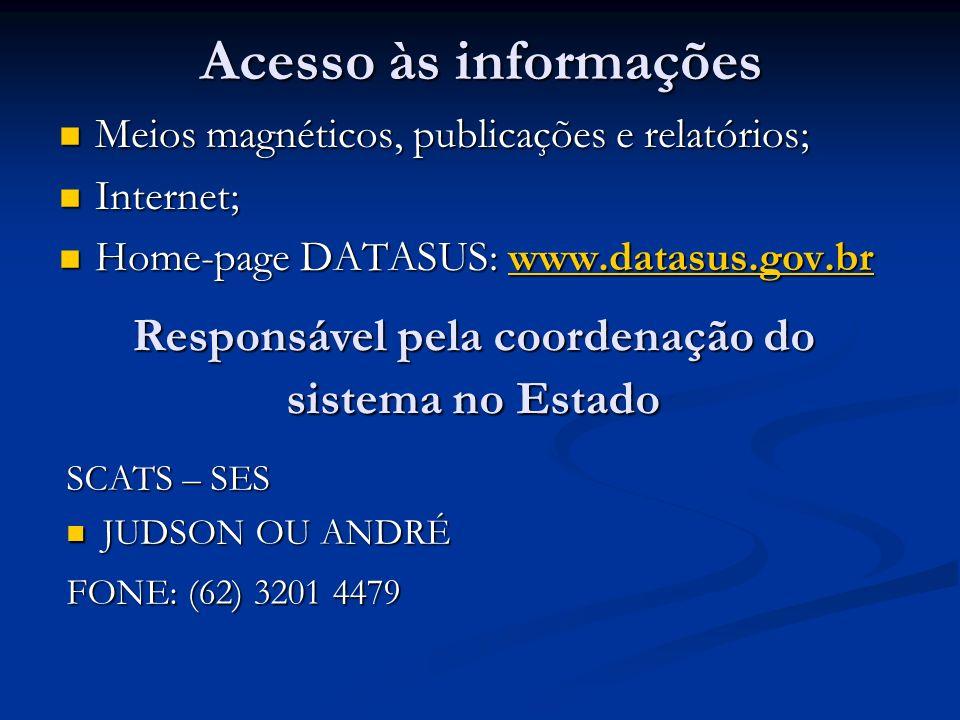 Acesso às informações Meios magnéticos, publicações e relatórios; Meios magnéticos, publicações e relatórios; Internet; Internet; Home-page DATASUS: w