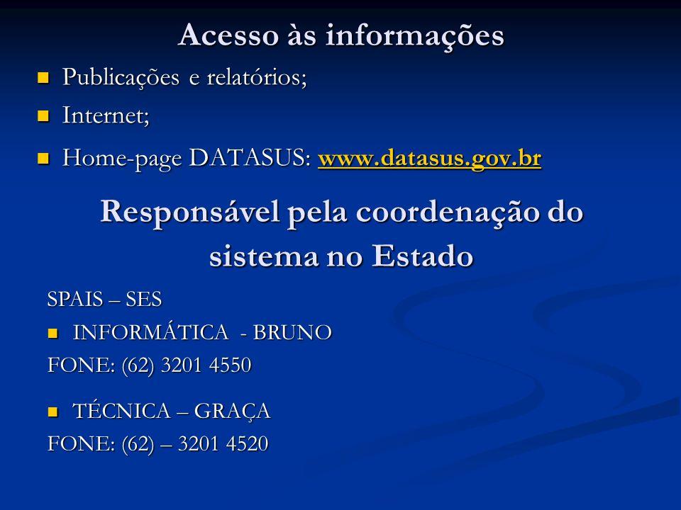 Acesso às informações Publicações e relatórios; Publicações e relatórios; Internet; Internet; Home-page DATASUS: www.datasus.gov.br Home-page DATASUS: