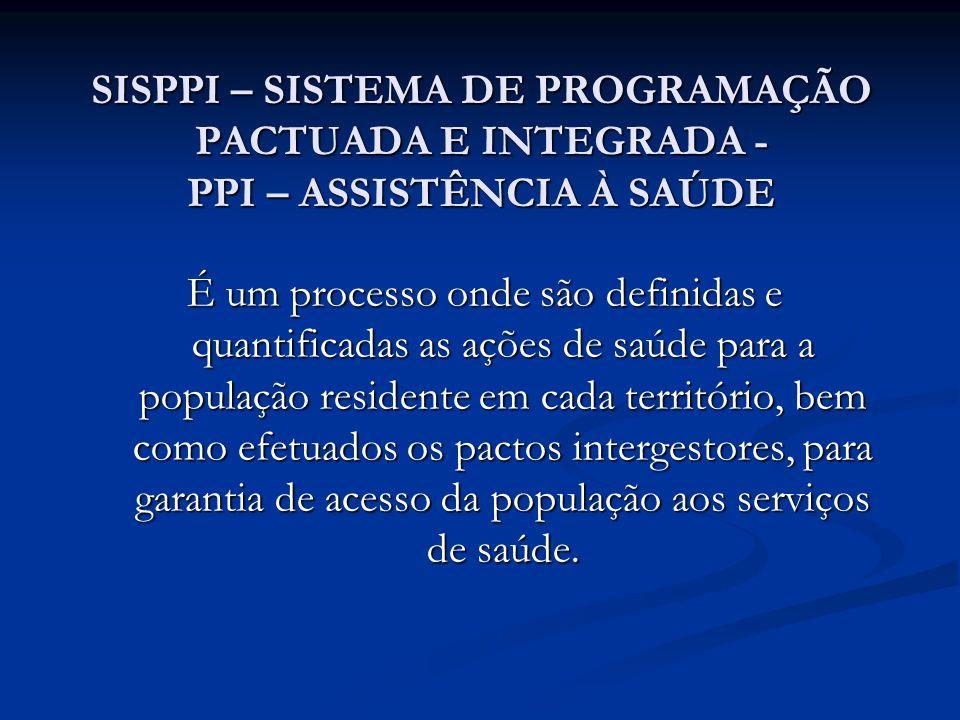 SISPPI – SISTEMA DE PROGRAMAÇÃO PACTUADA E INTEGRADA - PPI – ASSISTÊNCIA À SAÚDE É um processo onde são definidas e quantificadas as ações de saúde pa