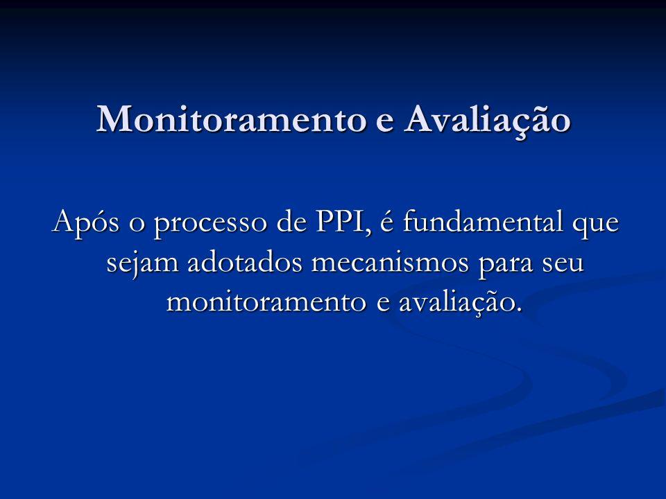 Monitoramento e Avaliação Após o processo de PPI, é fundamental que sejam adotados mecanismos para seu monitoramento e avaliação.