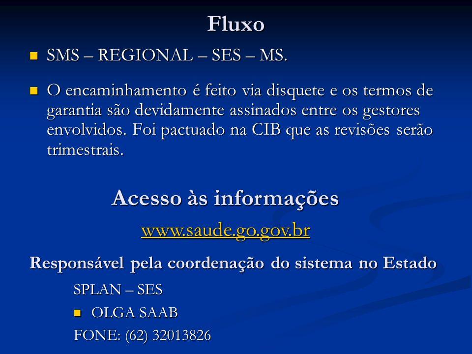 Fluxo SMS – REGIONAL – SES – MS. SMS – REGIONAL – SES – MS. O encaminhamento é feito via disquete e os termos de garantia são devidamente assinados en