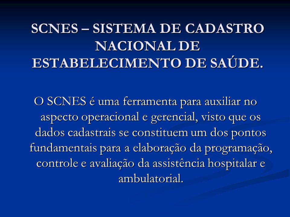 SCNES – SISTEMA DE CADASTRO NACIONAL DE ESTABELECIMENTO DE SAÚDE. O SCNES é uma ferramenta para auxiliar no aspecto operacional e gerencial, visto que