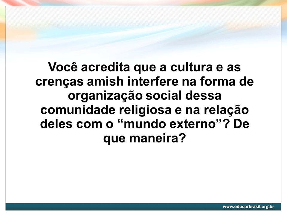Você acredita que a cultura e as crenças amish interfere na forma de organização social dessa comunidade religiosa e na relação deles com o mundo exte