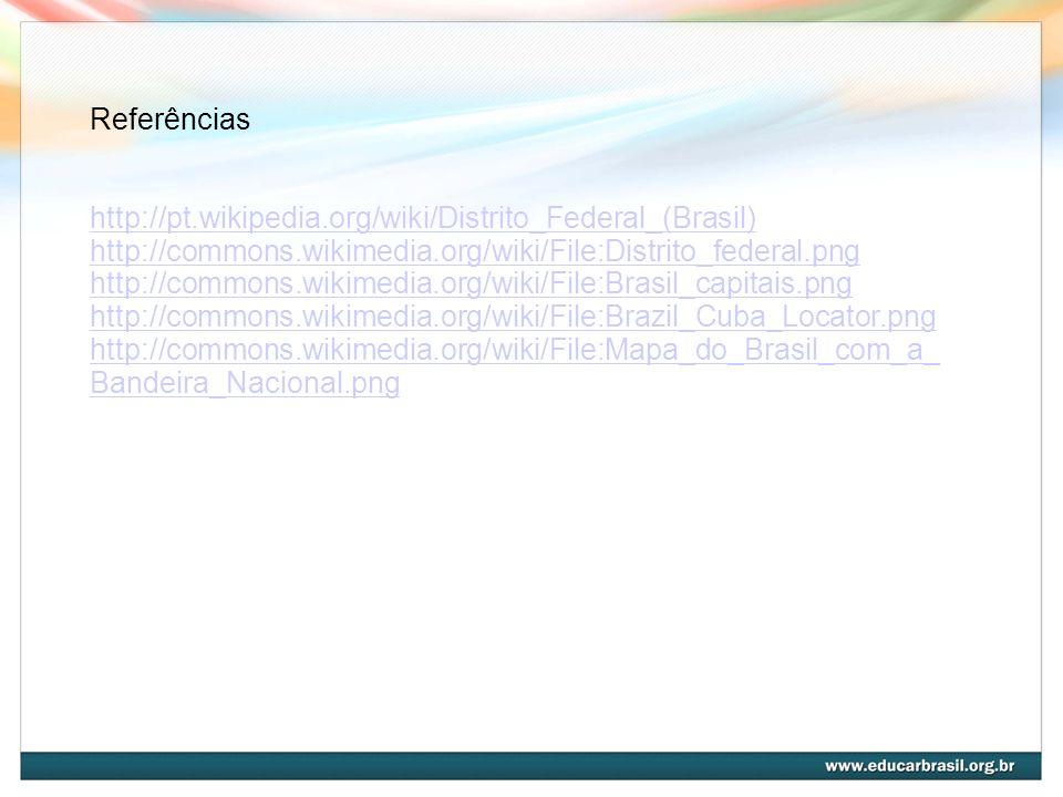 Referências http://pt.wikipedia.org/wiki/Distrito_Federal_(Brasil) http://commons.wikimedia.org/wiki/File:Distrito_federal.png http://commons.wikimedi
