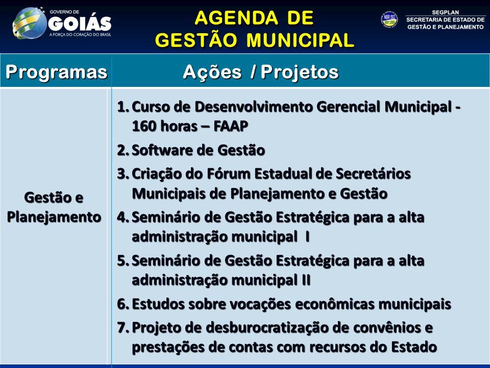 AGENDA DE GESTÃO MUNICIPAL AGENDA DE GESTÃO MUNICIPAL Programas Ações / Projetos Gestão e Planejamento 1.Curso de Desenvolvimento Gerencial Municipal