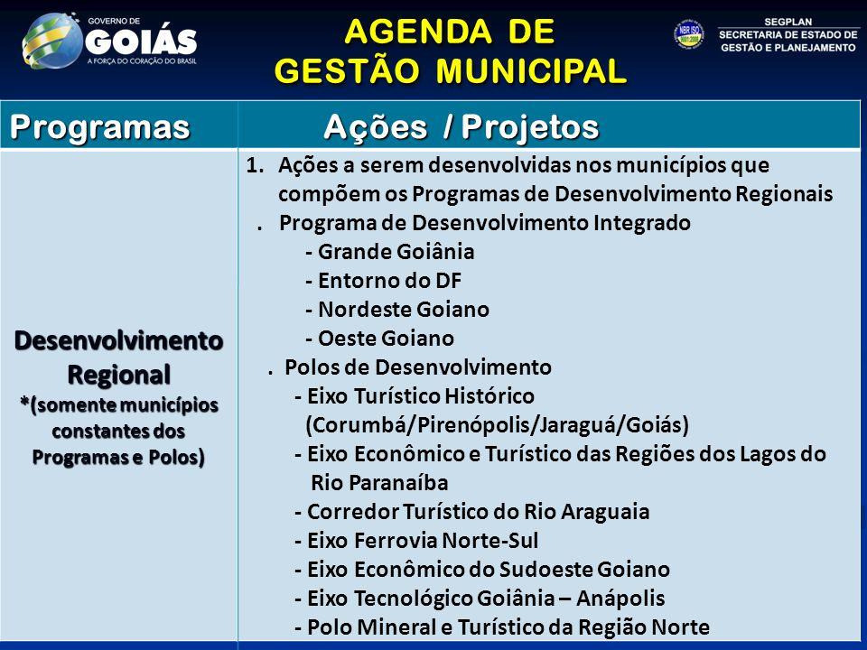 AGENDA DE GESTÃO MUNICIPAL AGENDA DE GESTÃO MUNICIPAL Programas Ações / Projetos Desenvolvimento Regional *(somente municípios constantes dos Programas e Polos) 1.Ações a serem desenvolvidas nos municípios que compõem os Programas de Desenvolvimento Regionais.