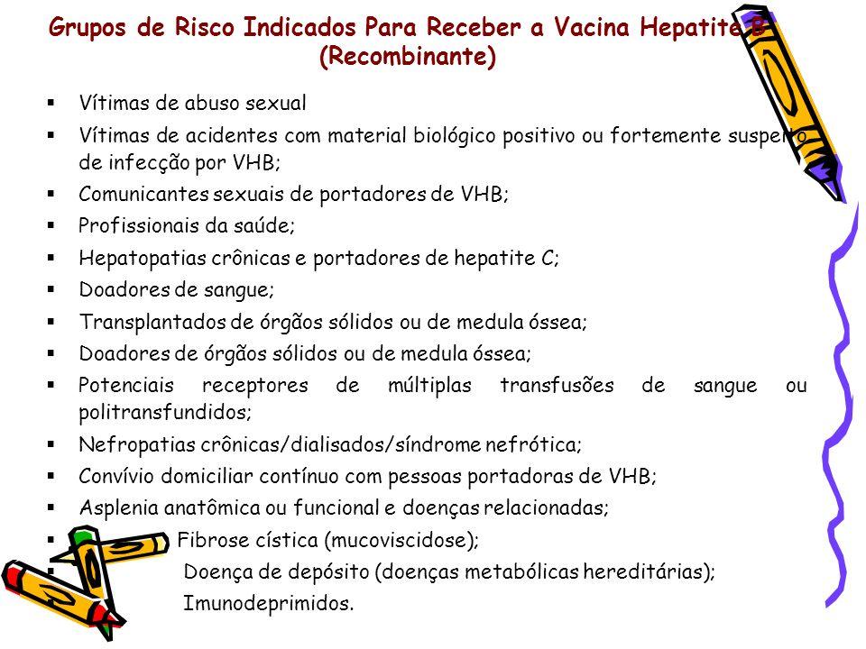 Grupos de Risco Indicados Para Receber a Vacina Hepatite B (Recombinante) Vítimas de abuso sexual Vítimas de acidentes com material biológico positivo