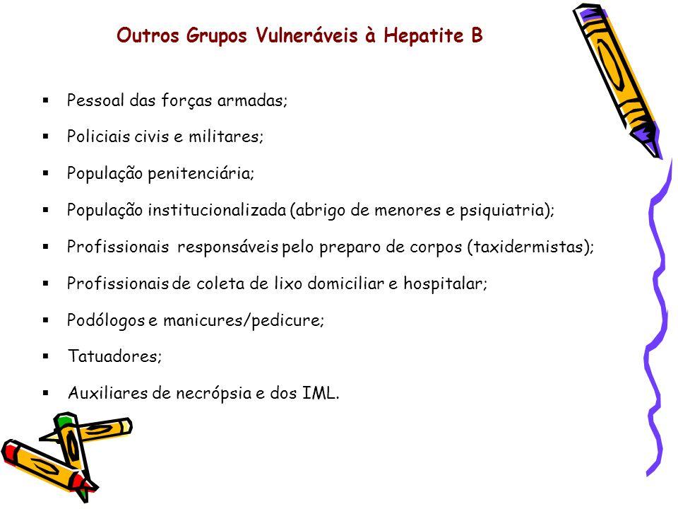 Outros Grupos Vulneráveis à Hepatite B Pessoal das forças armadas; Policiais civis e militares; População penitenciária; População institucionalizada