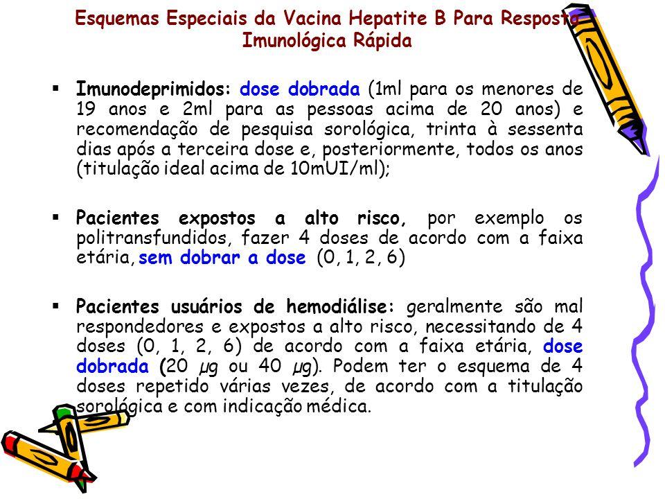 Esquemas Especiais da Vacina Hepatite B Para Resposta Imunológica Rápida Imunodeprimidos: dose dobrada (1ml para os menores de 19 anos e 2ml para as p