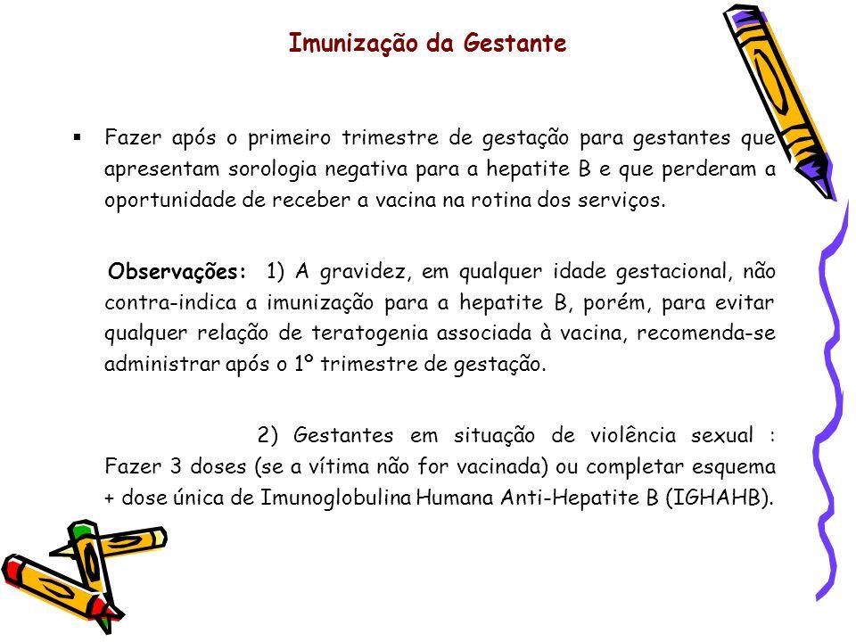 Imunização da Gestante Fazer após o primeiro trimestre de gestação para gestantes que apresentam sorologia negativa para a hepatite B e que perderam a