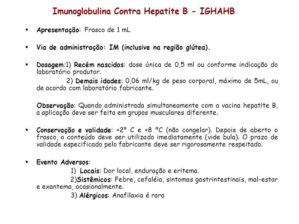Imunoglobulina Contra Hepatite B - IGHAHB Apresentação: Frasco de 1 mL Via de administração: IM (inclusive na região glútea). Dosagem:1) Recém nascido