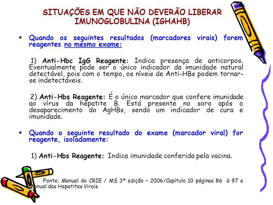 SITUAÇÕES EM QUE NÃO DEVERÃO LIBERAR IMUNOGLOBULINA (IGHAHB) Quando os seguintes resultados (marcadores virais) forem reagentes no mesmo exame: 1) Ant
