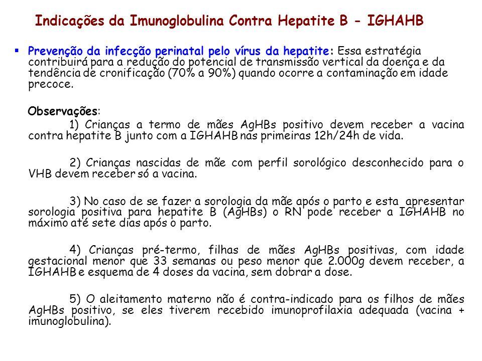 Indicações da Imunoglobulina Contra Hepatite B - IGHAHB Prevenção da infecção perinatal pelo vírus da hepatite: Essa estratégia contribuirá para a red