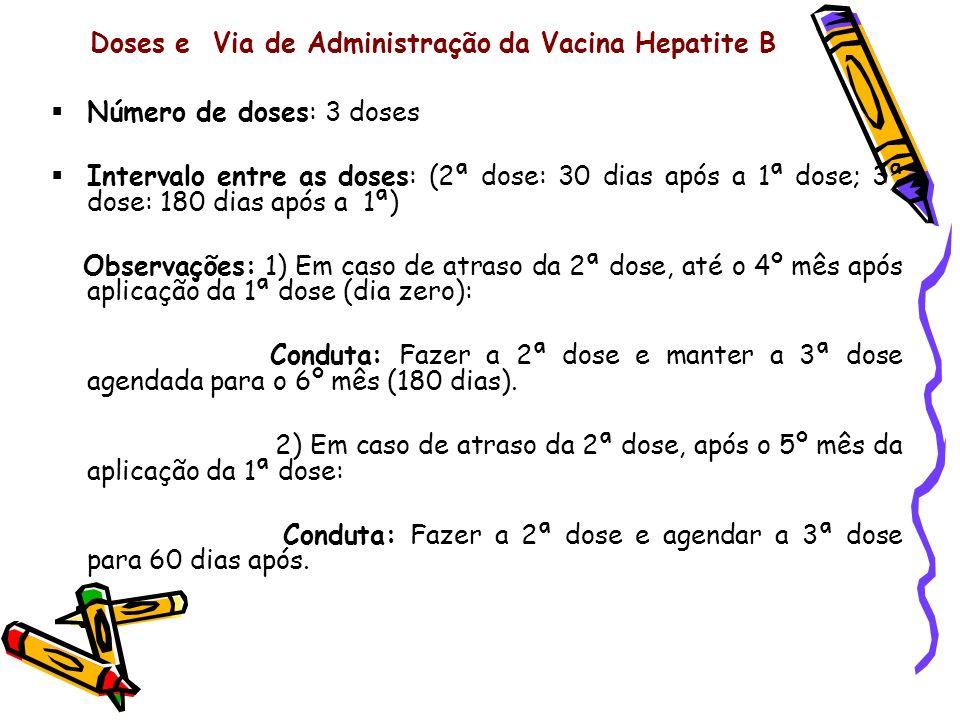 Doses e Via de Administração da Vacina Hepatite B Número de doses: 3 doses Intervalo entre as doses: (2ª dose: 30 dias após a 1ª dose; 3ª dose: 180 di