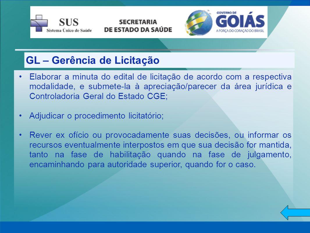 GL – Gerência de Licitação Elaborar a minuta do edital de licitação de acordo com a respectiva modalidade, e submete-la à apreciação/parecer da área j