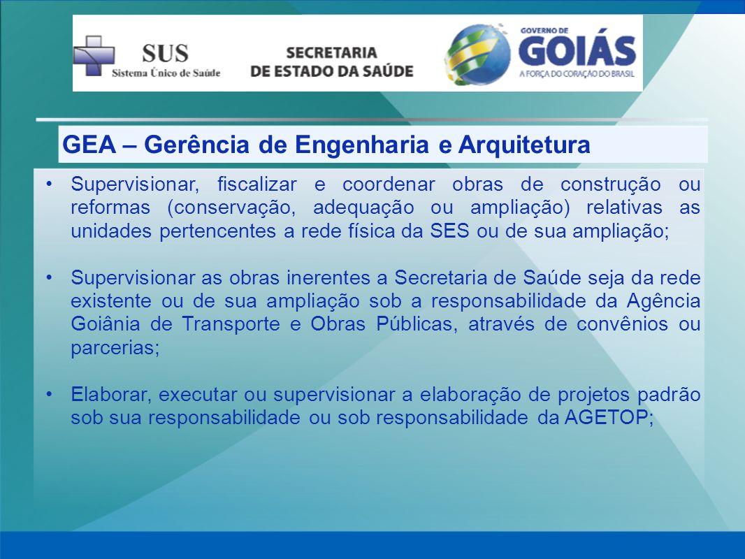 GEA – Gerência de Engenharia e Arquitetura Supervisionar, fiscalizar e coordenar obras de construção ou reformas (conservação, adequação ou ampliação)