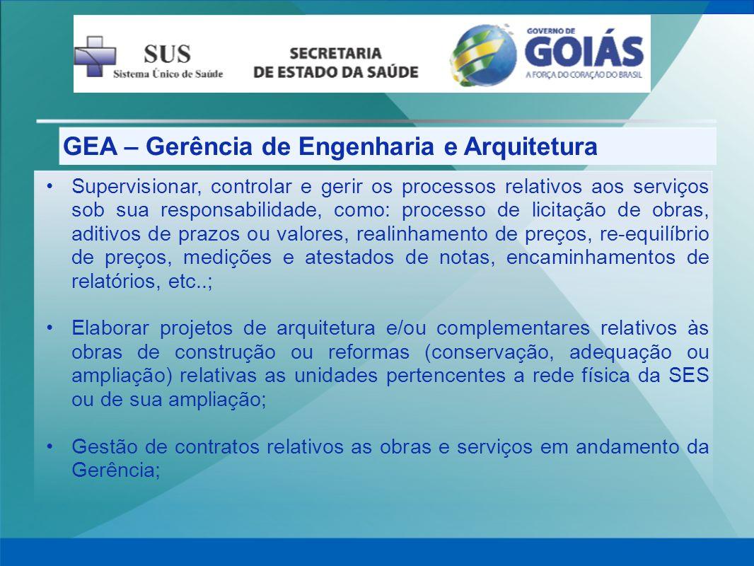 GEA – Gerência de Engenharia e Arquitetura Supervisionar, controlar e gerir os processos relativos aos serviços sob sua responsabilidade, como: proces
