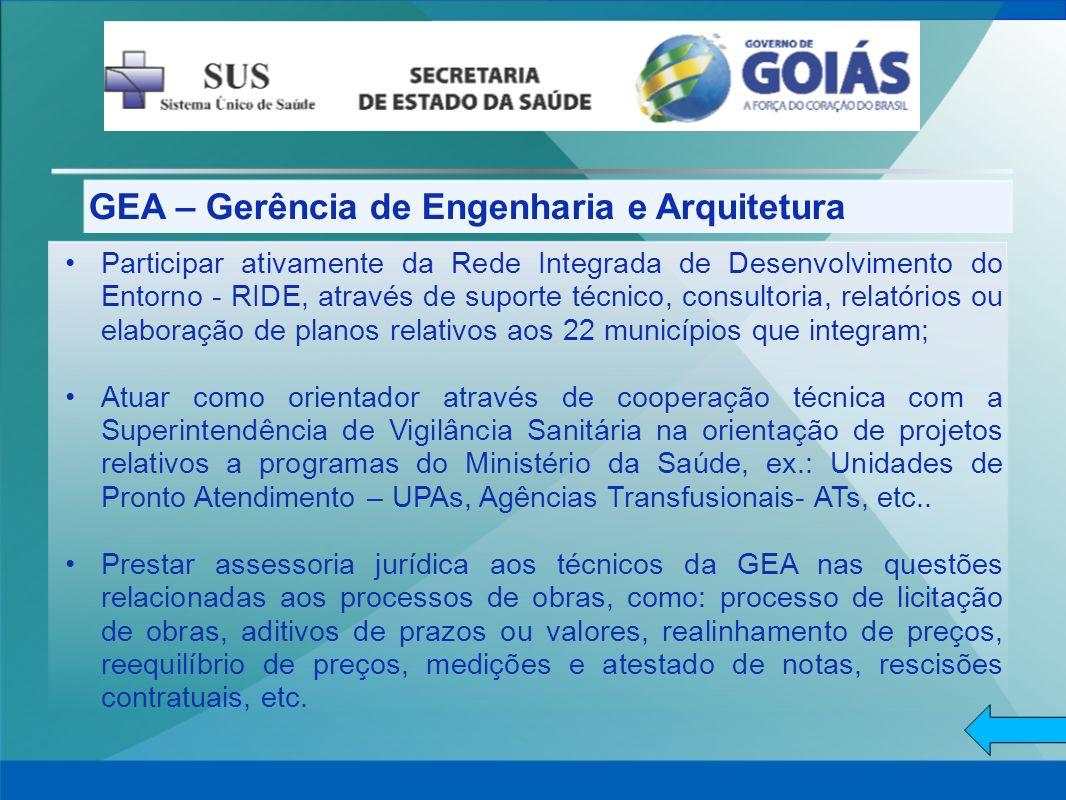 GEA – Gerência de Engenharia e Arquitetura Participar ativamente da Rede Integrada de Desenvolvimento do Entorno - RIDE, através de suporte técnico, c