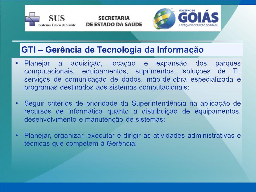 GTI – Gerência de Tecnologia da Informação Planejar a aquisição, locação e expansão dos parques computacionais, equipamentos, suprimentos, soluções de