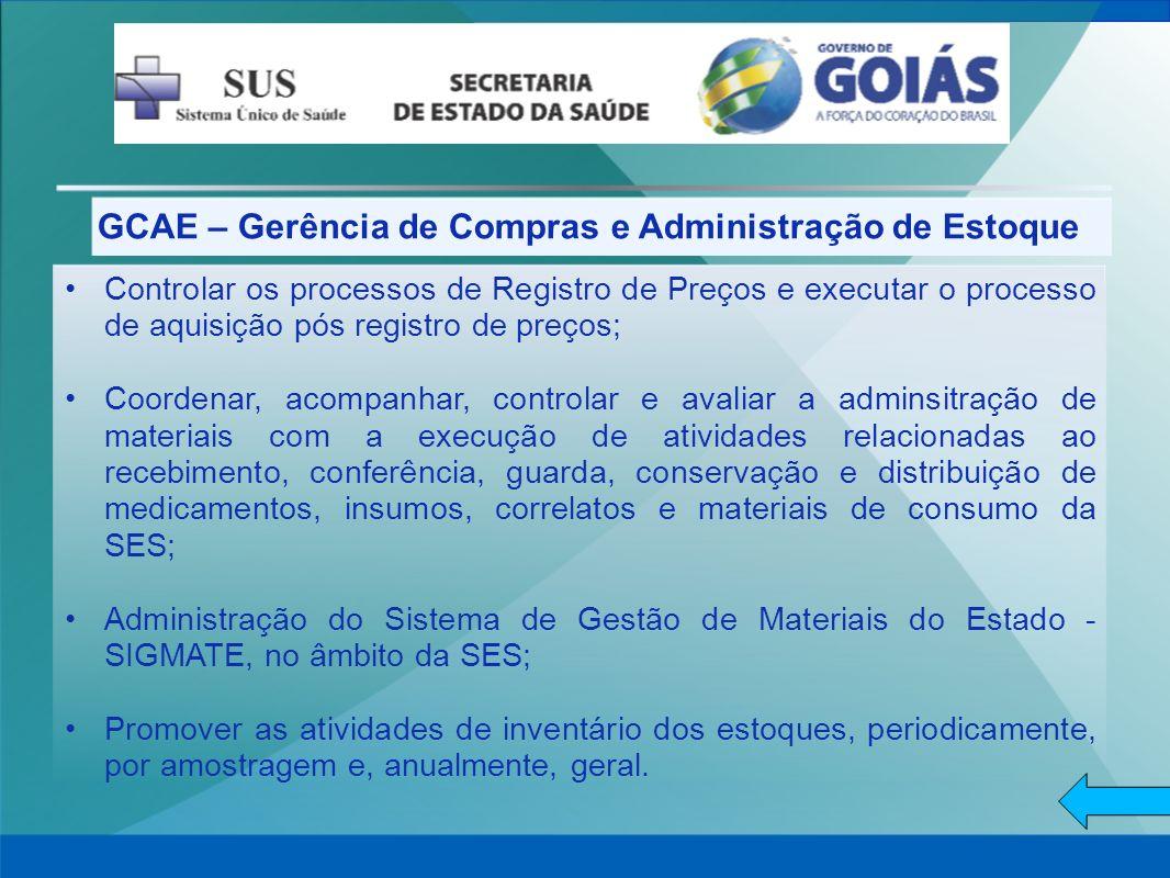 GCAE – Gerência de Compras e Administração de Estoque Controlar os processos de Registro de Preços e executar o processo de aquisição pós registro de