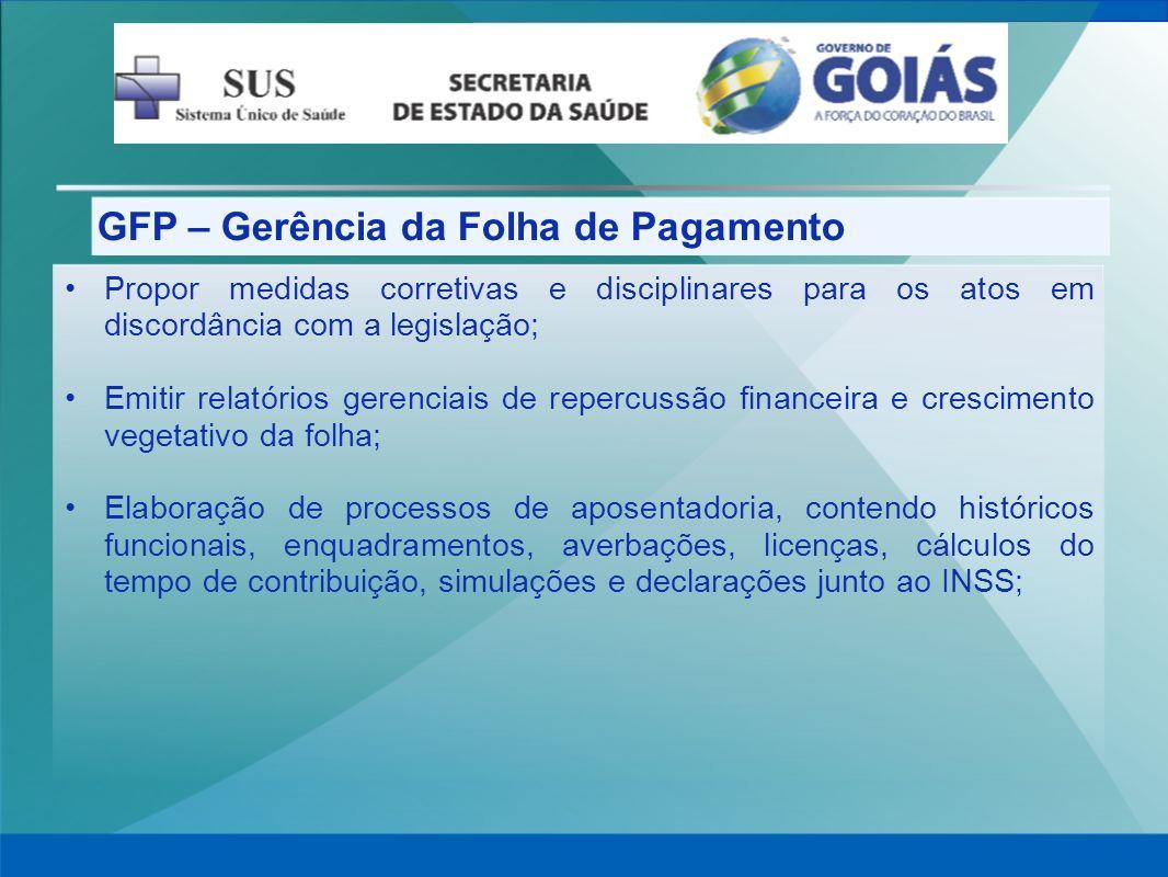 GFP – Gerência da Folha de Pagamento Propor medidas corretivas e disciplinares para os atos em discordância com a legislação; Emitir relatórios gerenc