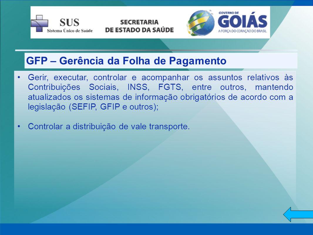 GFP – Gerência da Folha de Pagamento Gerir, executar, controlar e acompanhar os assuntos relativos às Contribuições Sociais, INSS, FGTS, entre outros,