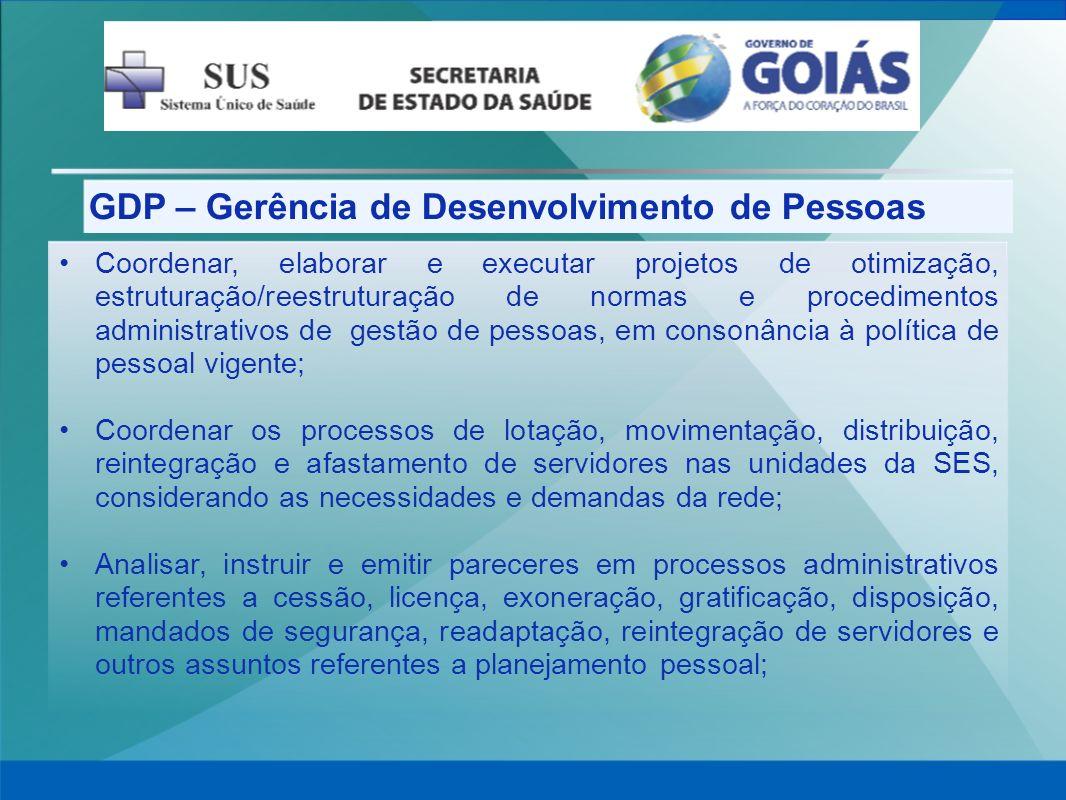 GDP – Gerência de Desenvolvimento de Pessoas Coordenar, elaborar e executar projetos de otimização, estruturação/reestruturação de normas e procedimen