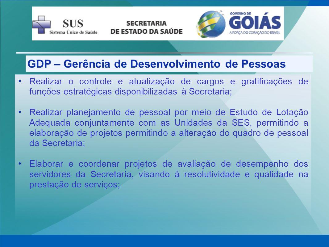 GDP – Gerência de Desenvolvimento de Pessoas Realizar o controle e atualização de cargos e gratificações de funções estratégicas disponibilizadas à Se