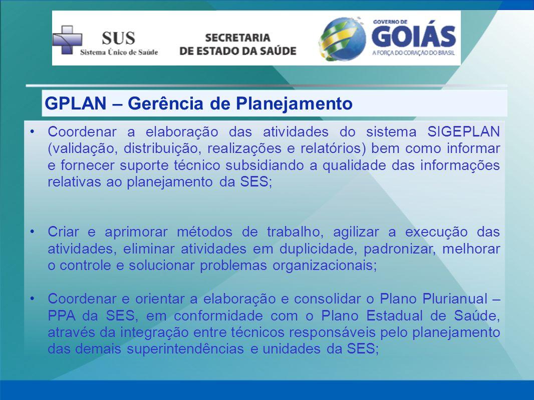 GPLAN – Gerência de Planejamento Coordenar a elaboração das atividades do sistema SIGEPLAN (validação, distribuição, realizações e relatórios) bem com