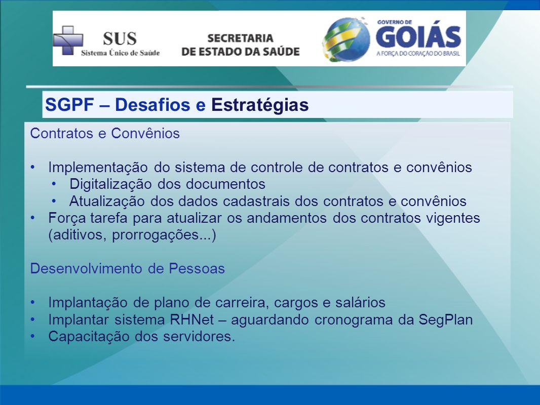 SGPF – Desafios e Estratégias Contratos e Convênios Implementação do sistema de controle de contratos e convênios Digitalização dos documentos Atualiz