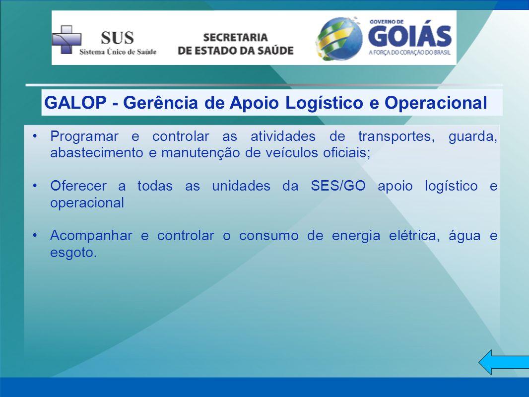 GALOP - Gerência de Apoio Logístico e Operacional Programar e controlar as atividades de transportes, guarda, abastecimento e manutenção de veículos o